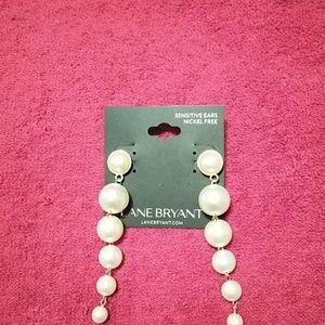 💖NWT Lane Bryant Faux Pearl Dangling Earrings